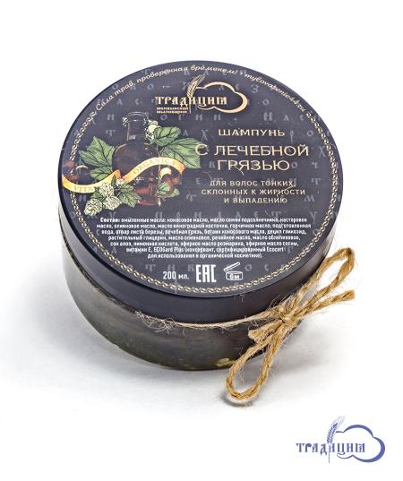 Густой шампунь для волос и тела «С лечебной грязью» 200 мл.